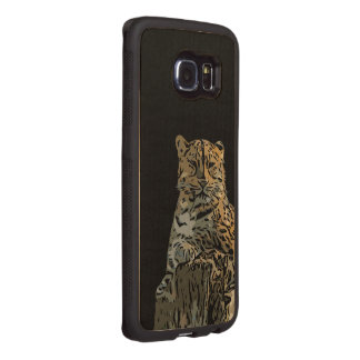 Beautiful Abstract Tiger Black Background Wood Phone Case