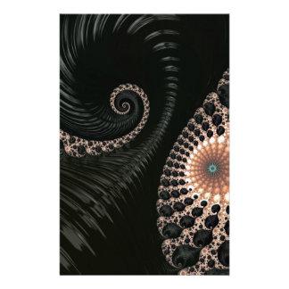 Beautiful Black Fractal Art Decor Customised Stationery