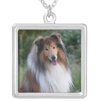 Beautiful Collie dog portrait necklace, gift idea Square Pendant Necklace