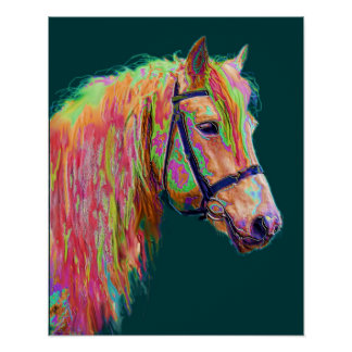 Beautiful colour of the Rainbow Highland Pony Poster