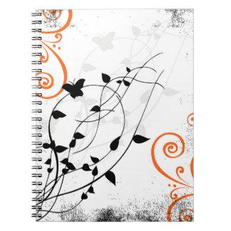 Beautiful Floral Black and White Orange Swirls Art Spiral Note Books