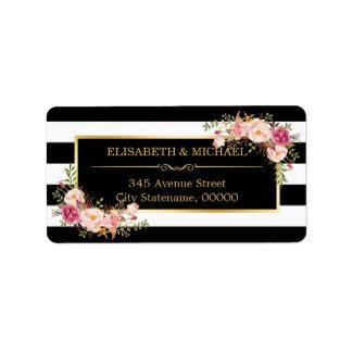 Beautiful Floral Gold Decor Black White Stripes Address Label