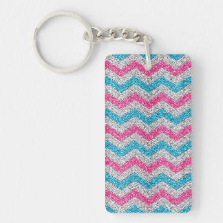 Beautiful girly trendy glitter shining zigzag Single-Sided rectangular acrylic key ring