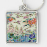 Beautiful Hummingbirds Flowers Stained Glass Art Silver-Colored Square Key Ring