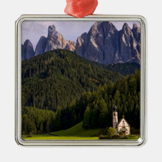 Beautiful isolated lonely church called Rainui 2 Silver-Colored Square Decoration