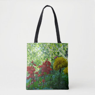 Beautiful Red Yellow Outdoor Planter Flowers Tote Bag
