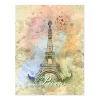 Beautiful trendy girly vintage Eiffel Tower France Postcard