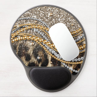 Beautiful trendy leopard faux animal print gel mouse pad