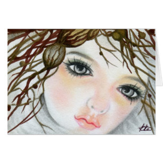 Beauty Doll  Face Crown Greeting Card
