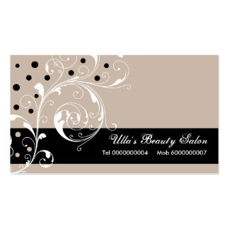 Beauty Salon floral scroll leaf black, pale taupe Pack Of Standard Business Cards