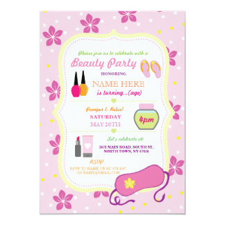 Beauty Spa Birthday Party Relax Pamper Face Invite