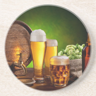 Beer barrel with beer glasses on a wooden table drink coasters
