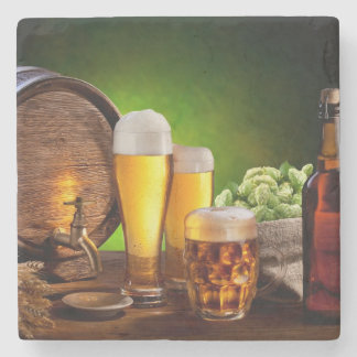 Beer barrel with beer glasses on a wooden table stone beverage coaster