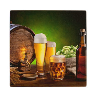 Beer barrel with beer glasses on a wooden table wood coaster