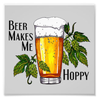 Beer Glass & Hops with Text Photograph