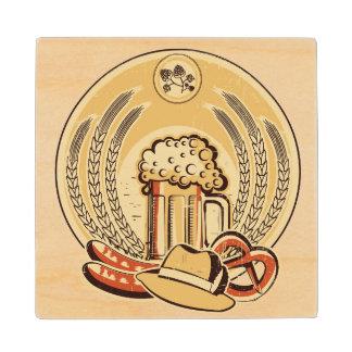 Beer Oktoberfest Label Vintage Graphic Maple Wood Coaster