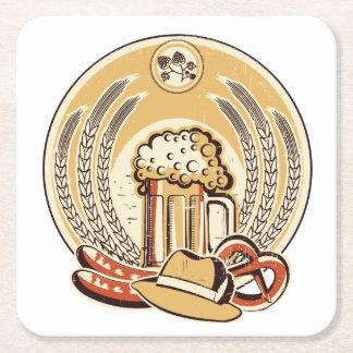 Beer Oktoberfest Label Vintage Graphic Square Paper Coaster