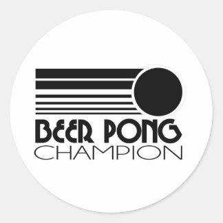 Beer Pong Champion Round Sticker
