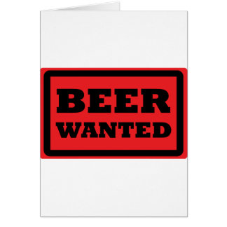 beer wanted red icon greeting card
