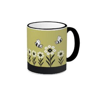Bees And White Floral Mugs-(Green) Ringer Mug