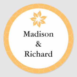 Beeswax Honeycomb Yellow Wedding Stickers