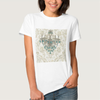 beige Damask French Country Vintage Chandelier Shirts