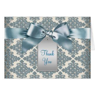 Beige Teal Blue Damask Thank You Cards