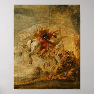 Bellerophon Riding Pegasus Fighting the Chimaera Poster
