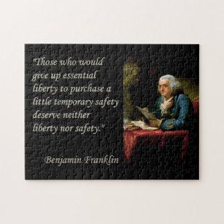 Ben Franklin Liberty Quote Puzzle