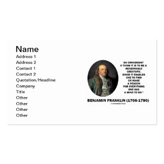 Benjamin Franklin Reasonable Creature Find Reason Pack Of Standard Business Cards
