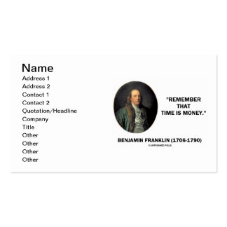 Benjamin Franklin Remember That Time Is Money Pack Of Standard Business Cards