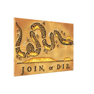 Benjamin Franklin's Join Or Die Political Cartoon Stretched Canvas Print