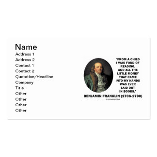 Benjmain Franklin Fond Of Reading Money In Hands Pack Of Standard Business Cards