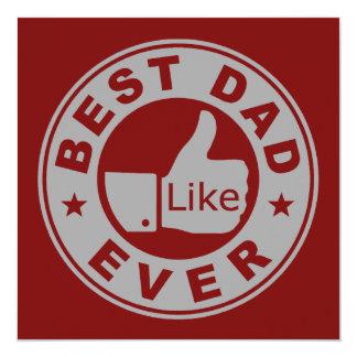 Best Dad Ever - Grey 13 Cm X 13 Cm Square Invitation Card