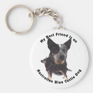Best Friend Australian Blue cattle Dog Basic Round Button Key Ring