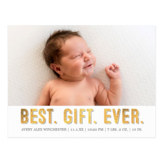 Best. Gift. Ever. Grey/ Gold Faux Foil Photo Birth Postcard