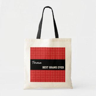 Best Grams Ever Custom Name Red Squares 002 Budget Tote Bag