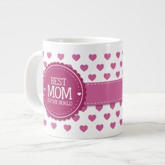 Best Mom in the World Pink Hearts and Circle v2 Jumbo Mug