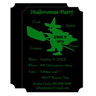 Beware of Witch Halloween Party Invite