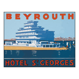 Beyrouth Hotel St. Georges, Vintage Poster