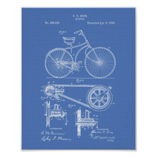 Bicycle 1890 Patent Art - Blueprint Poster