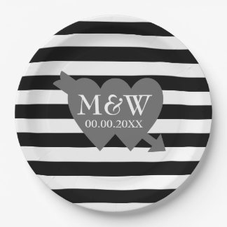 Big bold black and white striped wedding plates 9 inch paper plate