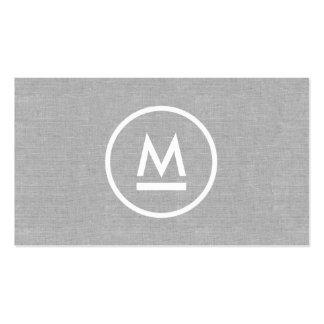 Big Initial Modern Monogram on Gray Linen Pack Of Standard Business Cards