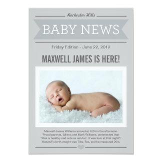 Big News Birth Announcement | Grey & Charcoal