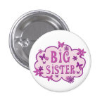 Big Sister Pink Flower Butterfly Button