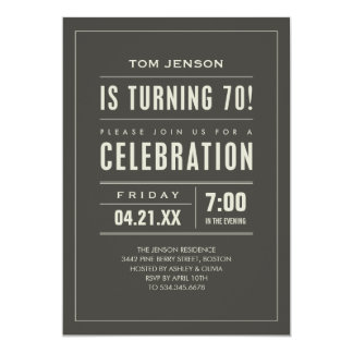 Big Type 70th Birthday Invitations