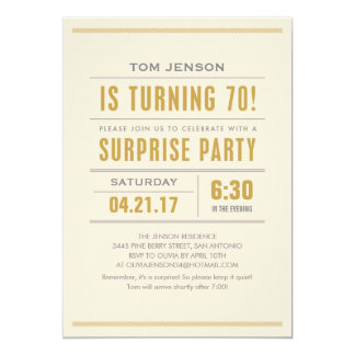 Big Type 70th Birthday Surprise Party Invitations