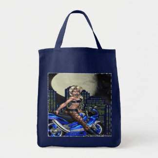 Biker Chick - Grocery Tote Grocery Tote Bag