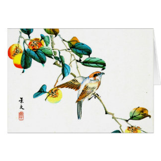 Bird and Persimmons 1892 Greeting Card
