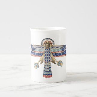 Bird Egyptian Symbol Horus Omega Blue Gold Ancient Bone China Mug